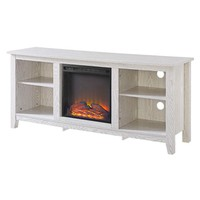 Whitewash 58-inch TV Stand Electric Fireplace Space Heater