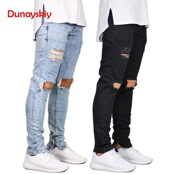 Spring Autumn MenJeans Stretch Destroyed Ripped Design Fashion Ankle Zipper Skinny Jeans For Men Blue Black Solid Denim Trousers