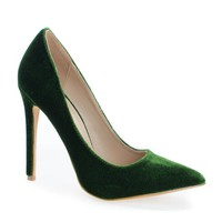 Darby Olive Green Velvet By Shoe Republic, Pointy Toe Velvet Stiletto Heel Pumps