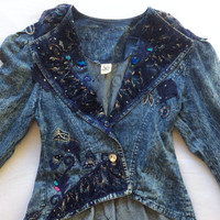 80s Vintage Acid Washed Bedazzled Denim Jacket Size Medium
