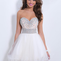 Sweetheart Beaded Homecoming Blush Dress 9852