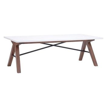 Saints Mid-Century Modern Coffee Table White & Walnut
