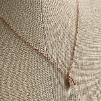 Charming Tarnish Resistant Petite Copper Chain Crystal Teardrop Necklace 16 inch