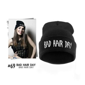 Fashion Unisex BAD Hair DAY Beanie Cap  Hiphop Style Double Layer Knit Hats  Blue/Grey/Black/Wine red = 1929608068