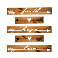 Heart Arrow Faith Hope Love Arrow Wood Sign Set - Girls Bedroom Decor, Wall Decor, Reclaimed Barn wood, Wood Home Decor, Gift for Her, Vinyl