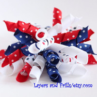 Fourth of July korker hair bow, red white and blue korker bow, 4th of July star ribbon bow