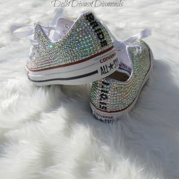 bride and wedding date all over crystal converse custom hand made crystal converse