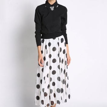 Black Long Sleeve Polka Dot Chiffon Dress