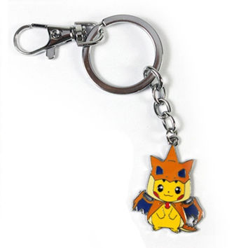 Pokemon Pocket Monster Pikachu Keychain Mega Charizard Lucario Audino Slowbro Keyring Pendant Fan Collect Chaveiros
