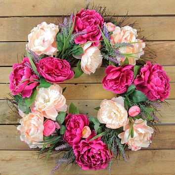 Peony and Rose Twig Spring Floral Wreath  Lavender 22-Inch