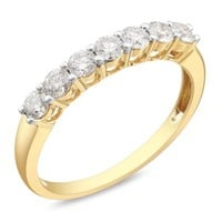 1/2 Carat Diamond Anniversary Ring White in 14K White & Yellow Gold