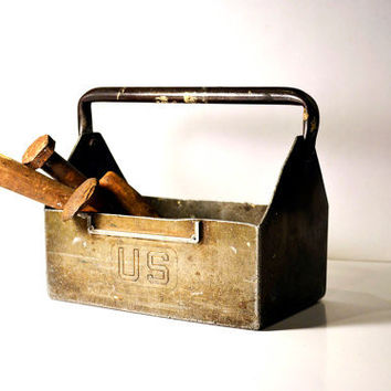 Vintage Industrial US Metal Toolbox Tote with Handle, Small Travel Size, Rustic Man Decor, Unique Window Sill Planter