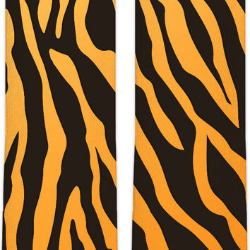 Tiger stripes pattern knee high socks, animal fur themed style accessory, black and orange