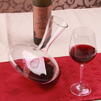 1PC Bar Tools 1200ml Elegant Lead-free Crystal Glass Wine Decanter Red Wine Carafe Aerator Wine Pourer JS 1107