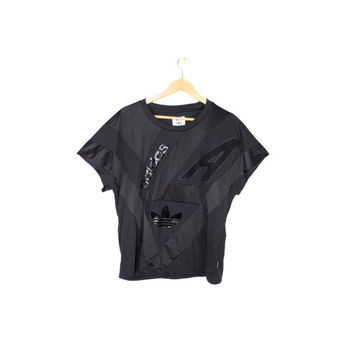 ADIDAS originals archive jersey shirt - black trefoil + leather panel tee - womens medium