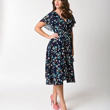 Unique Vintage 1940s Navy Blue Strawberry Floral Dotty Wrap Dress