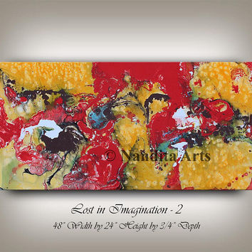 Large Wall Art ABSTRACT PAINTING Red Acrylic Water Color Abstract Canvas Painting, Contemporary Art, Home Decor, Wall Hanging Large Art