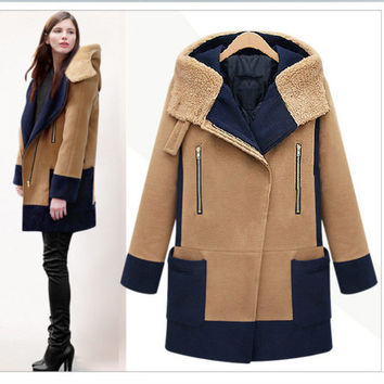 Plus Size Turn Down Color Splicing Long Wool Coat