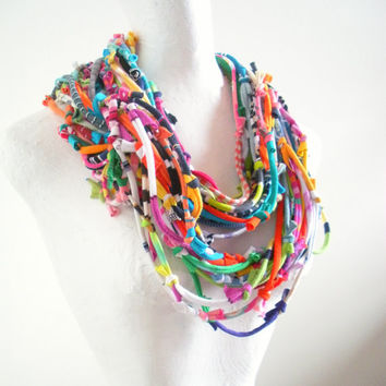 Technicolor Infinity Art Scarf Bright Colors Tribal Gypsy Cowl Scarf Upcycled Clothing Multicolor Knotty Bits Scarf Warm Winter Accessories