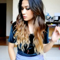 "Ombre Hair Extension,Vanessa Hudgens inspired, Reverse Ombre, Dark Brown Slow Fade to sand and toffee, (7) Pieces,20"", Custom Your Own"