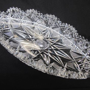 Signed Hawkes American Brilliant Period hand Cut mouth blown blank oval dish
