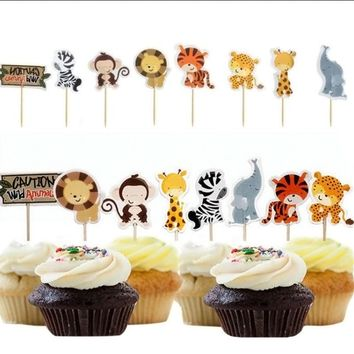 24pcs Safari Jungle Animal Cupcake Toppers Picks Birthday Party Decoration Kids Baby Shower Boy Favors  Cupcake Toppers GF504