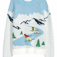 Jacquard-knit jumper - White - Ladies | H&M GB