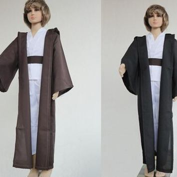 free shipping Star Wars Costume Jedi Master Obi Wan/Ben Kenobi Cosplay Tunic Suit kids Cosplay Costume for children Cloak Cape