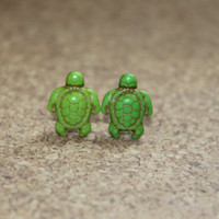 1 Pair  Green Turtle Earrings by BlushPinkLady on Etsy