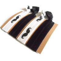 Elastic Hair Ties Black and White Mustache Yoga Hair Bands