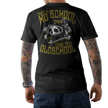 Skull Skulls Halloween Fall New Fashion Cool Casual BIKER T-Shirt THERE IS NO SCHOOL LIKE THE OLDSCHOOL  Chopper Cafe Racer MC Summer Tee Shirt Calavera