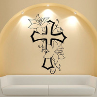 Wall Decal Vinyl Sticker Decals Art Decor Design Cross Flowers Jesus Christ God Religion Prayer Dorm Bedroom Living Room (r559)