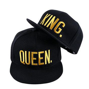 WENDYWWU 2017 New Arrival KING and QUEEN 3D Embroidered Lovers Couples Snapback Caps Adjustable Hip-Hop Hats