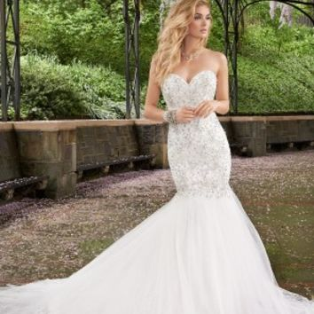 Rhinestone Drop Waist Wedding Dress