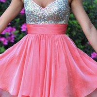Sweetheart Pink Chiffon Prom Beadings Dress