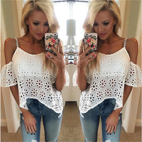 Women Casual Boho Lace Off Shoulder Shirt Summer Crop Tank Tops Blouse