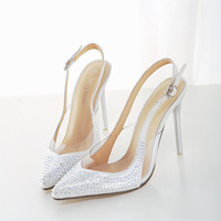 Satin crystal pointed high-heeled shoes Bridal Brad Shoes