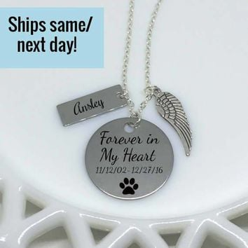 Pet Loss Necklace, Pet Memorial Necklace, Pet's Name, Paw Print, Dog Lover Necklace, Pet Loss, Pet Memorial Jewelry, Loss of Pet,Loss of Dog