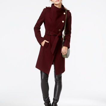 GUESS Funnel-Collar Asymmetrical Coat