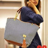 TEXU Stripe Bohemia fashion women's handbags color stripes shoulder bags beach bag big tote bags