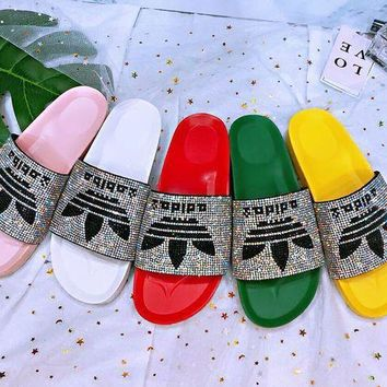 ADIDAS New Fashion Slippers Women Colorful Diamond Shining Slippers More Color