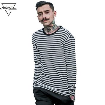 Aelfric Eden Korea Spring New striped T-shirt Casual Mens  Cotton Striped Long Sleeve T Shirt Men's Fashion Black White T-shirt
