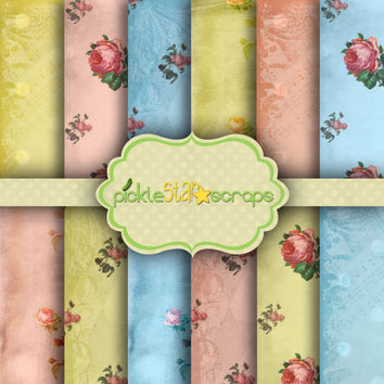 ShabbyChic Rose Vol 1 - 12 Digital Printable Scrapbook Papers -12x12inch - Grunged textured Printable Backgrounds - INSTANT DOWNLOAD
