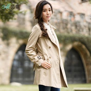 INMAN 2017 Women Autumn Dress Solid Color Cotton Lapel Trench Coat