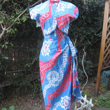 50s HAWAIIAN Dress With SARONG And BOLERO 1950s PIn Up