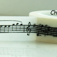 White Washi Masking Tape Roll Adhesive Stickers with Musical Notes WT83