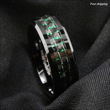8mm Tungsten Ring, with Black and Green Carbon Fiber, Wedding Band,