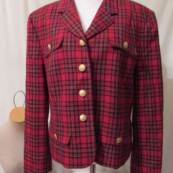 Pendleton Blazer Jacket Women's Sz 16 Red Plaid Virgin Wool USA Vintage Classic