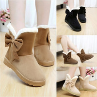 Women Winter Warm Flat Heel Solid Bowknot Ankle Platform Mid Snow Boots