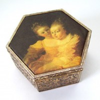 Vintage Silk Two SistersTrinket Box